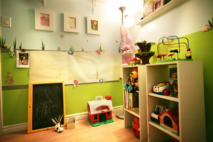 kid's garden theme room activity wall