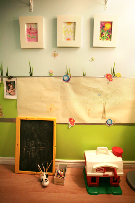 kid's room garden art wall for drawing