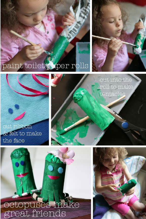 diy how to make octopus craft with toilet paper rolls